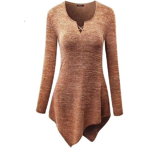 WayToIan Women Handkerchief Hem Long Sleeve Tunic Top ($18) ❤ liked on Polyvore featuring tops, tunics, long sleeve tunic, brown tunic, brown top, long sleeve tops and handkerchief hem tops