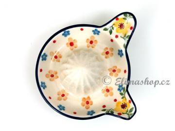 Lemon juicer . Spring pattern . Handmade Polish Pottery from our shop ELIMAshop.cz ... lis na citron - ELIMAshop.cz