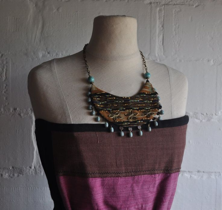 textile jewelry made from ikat fabric from Sarawak (Borneo)