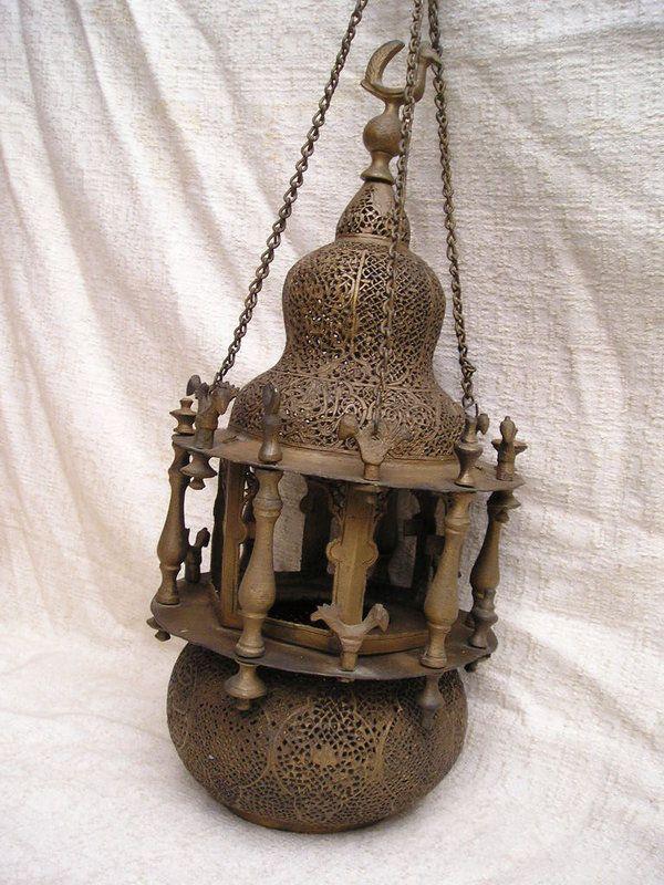 Islamic Brass Mosque Lamp Syrian Elaborately Pierced An