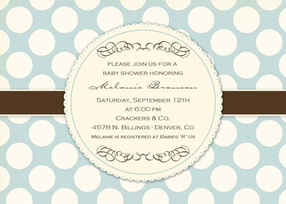 another invite, and she also does coordinating banners, cupcake toppers, thank you cards, food labels, etc. -etsy: Invitations Baby Shower, Shower Ideas, Baby Girls Shower, Births Announcements, Polka Dots, Baby Shower Invitations, Parties Ideas, Boys Shower Invitations, Baby Boys Shower