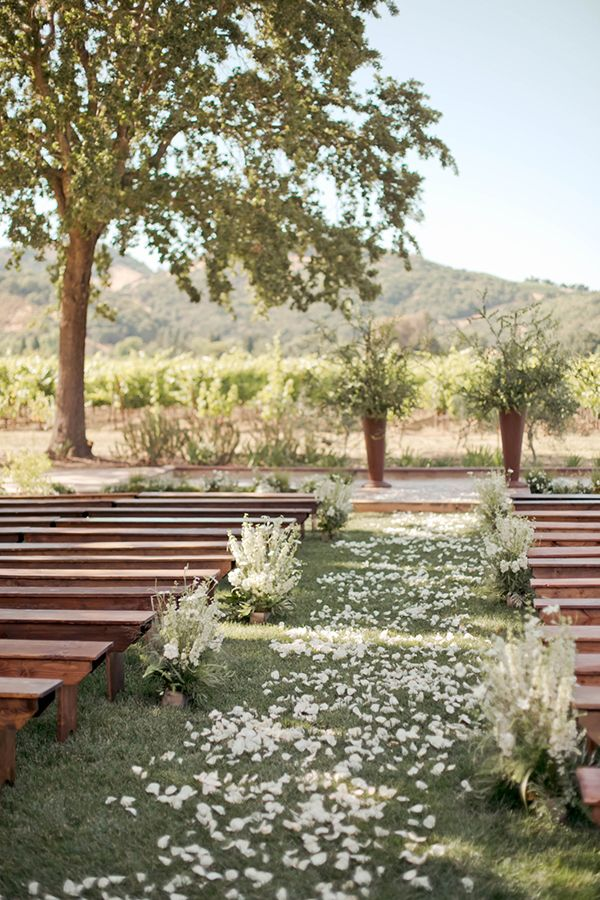 White rose petal lined ceremony, bench ceremony ideas, vineyard ceremony.  pic by Sasha Gulish, event planning & design  by Laurie Arons.