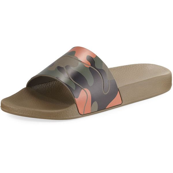 Valentino Men's Camo Rubber Slide Sandal ($275) ❤ liked on Polyvore featuring men's fashion, men's shoes, men's sandals, mens wide width shoes, valentino mens shoes, mens rubber shoes, mens rubber slip on shoes and mens wide shoes