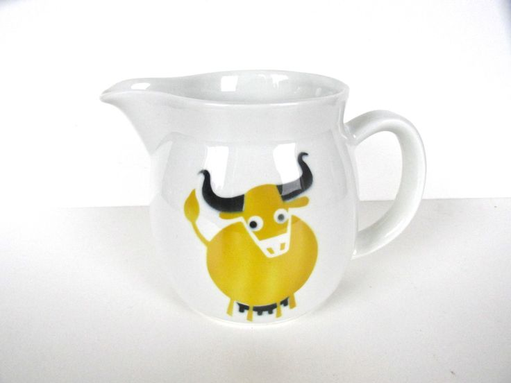 Arabia Of Finland Heluna Cow Pitcher, Kaj Franck Yellow Bull Milk Jug, Mid Century Modern Scandinavian Pitcher by HerVintageCrush on Etsy