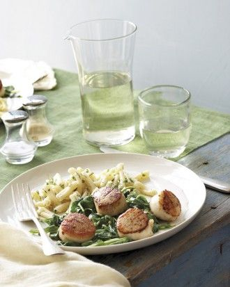 "See the ""Scallops and Spinach with Spring-Herb Pasta Menu"" in our ..."