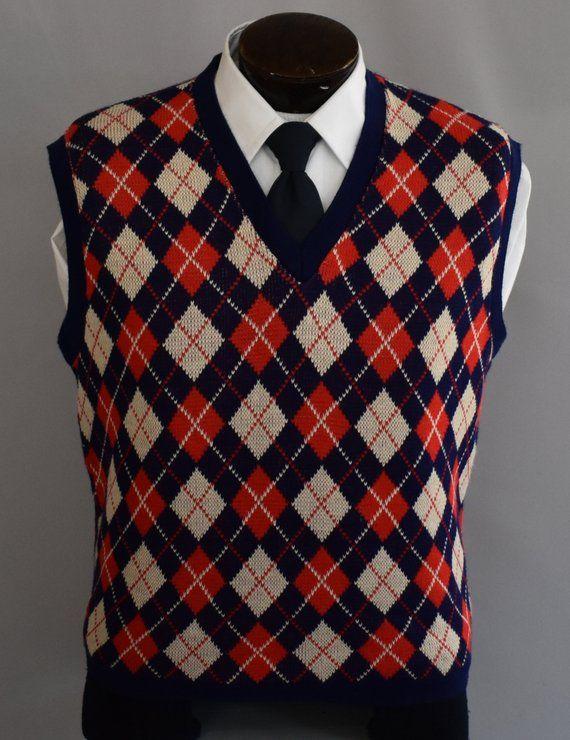 0c0082b5705 Argyle Sweater Vest, Vintage 70s Pullover 20s 30s Style Sweater Vest ...