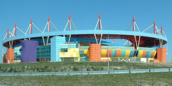 This is Beira Mar's stadium, one of many stadiums built ready for the European Championships in Portugal in 2004. Very colourful stadium.