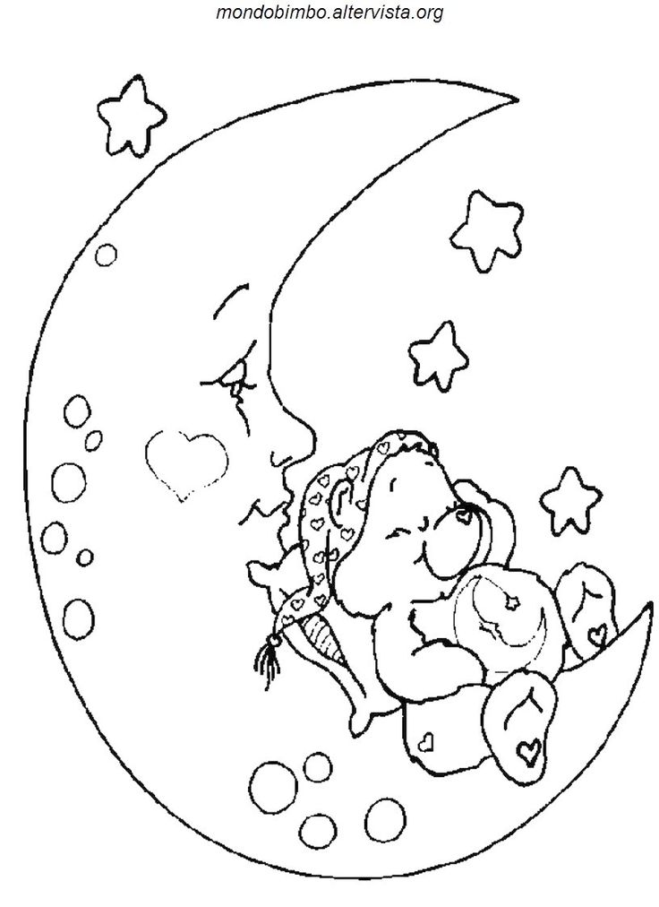 Bedtime Bear Is Sleeping On The Moon In This Cute Care Coloring Page