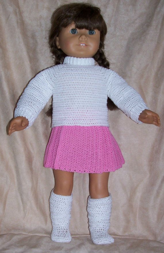 """This is for the """"PATTERN"""" only !!! Not the completed item!!!!! This is a pattern to make a pleated skirt, turtle neck sweater and slouch boots It fits the American Girl, Madame Alexander, Springfield and other 18 inch dolls. They are easy on and off. The skirt is worked vertically in one"""