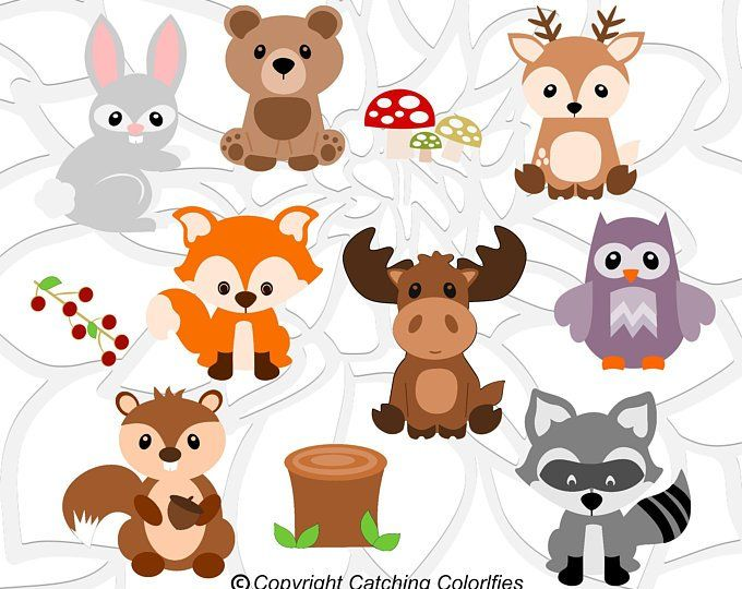 Woodland Animal Svg Set Cute Baby Forest Animals Clip Art Etsy Woodland Baby Shower Invitations Woodland Baby Shower Decorations Baby Shower Woodland