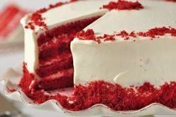 Red Velvet Cake is a very dramatic looking cake with a bright red color sharply contrasted by a white frosting. From Joyofbaking.com With Demo Video