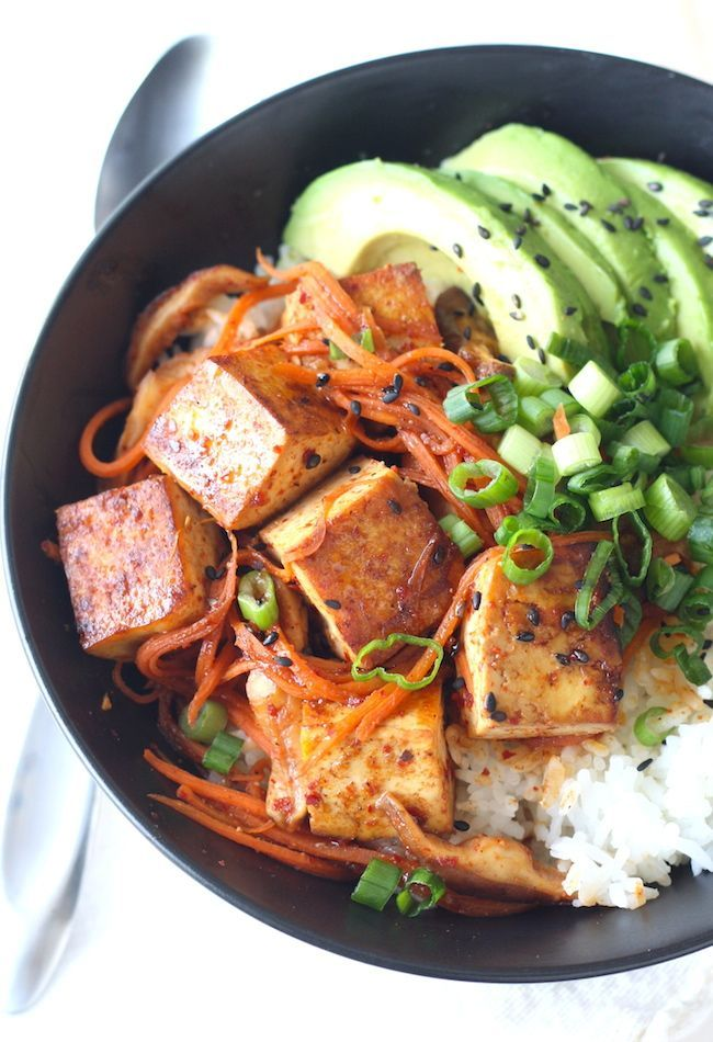 Korean Tofu & Shiitake Mushroom Rice Bowl recipe by SeasonWithSpice.com @seasonwithspice