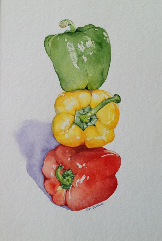 Glossy peppers by Judith Jerams - been thinking of doing a painting similar to this