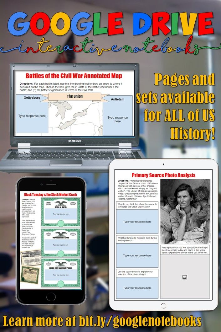 Go digital and get your students engaged with Google Drive digital interactive notebooks for both World and US History! Each page includes links, graphic organizers, and student instructions!