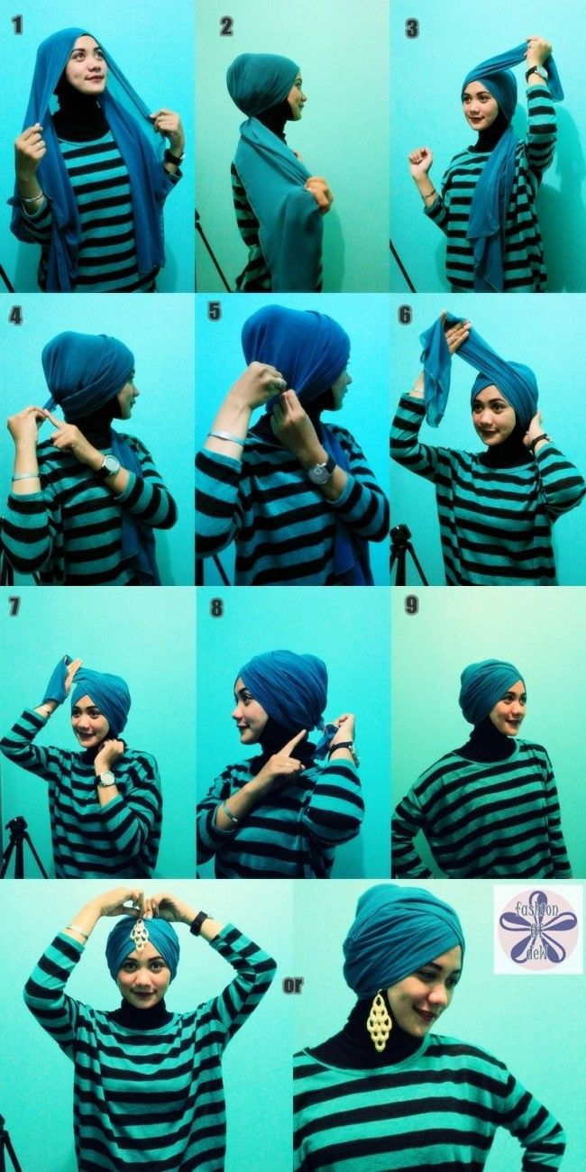 Tutorial Hijab Turban Layer Tutorial pashmina turban style
