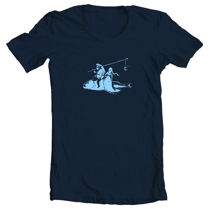 Flying Fish (Hieronimus Bosch) Light Blue on Navy Blue (Stylized by: Kostas Kiriakakis & Ailen Herrera )