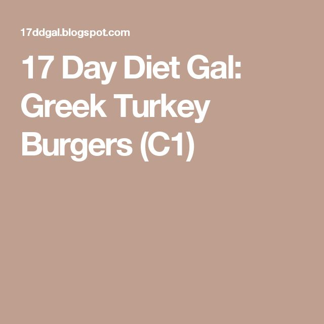 17 Day Diet Gal: Greek Turkey Burgers (C1)