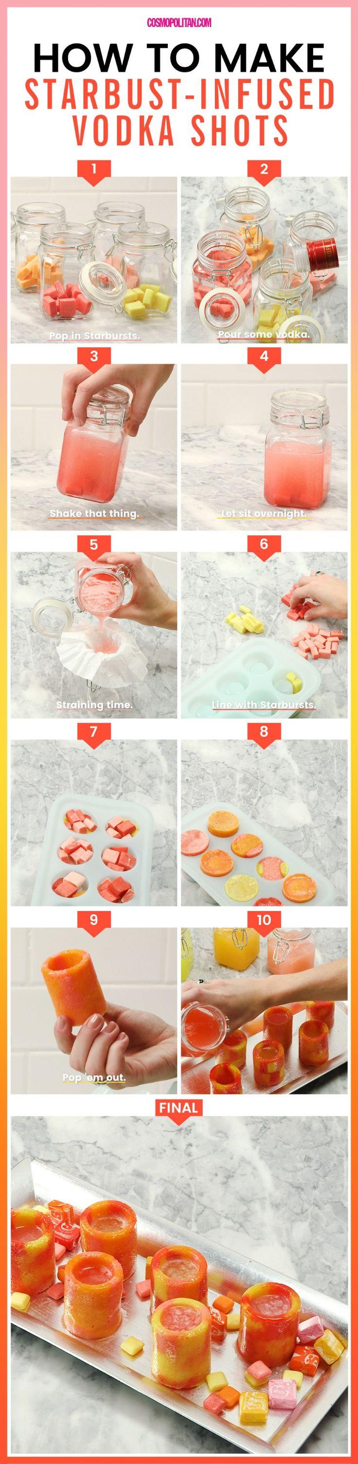 Easy Starburst Shot Glass Recipe - Starburst Shot Recipe - project from cosmopolitan.com
