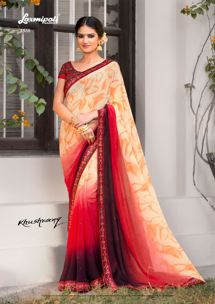 Browse this Amiable Multi Colored Designer Printed #Georgette_Sarees and #Bhagalpuri_Blouse along with Fancy Lace Border online at www.laxmipati.com #Catalogue-#KHUSHRANG #Price - ₹ 1742.00 #Designnumber-4558