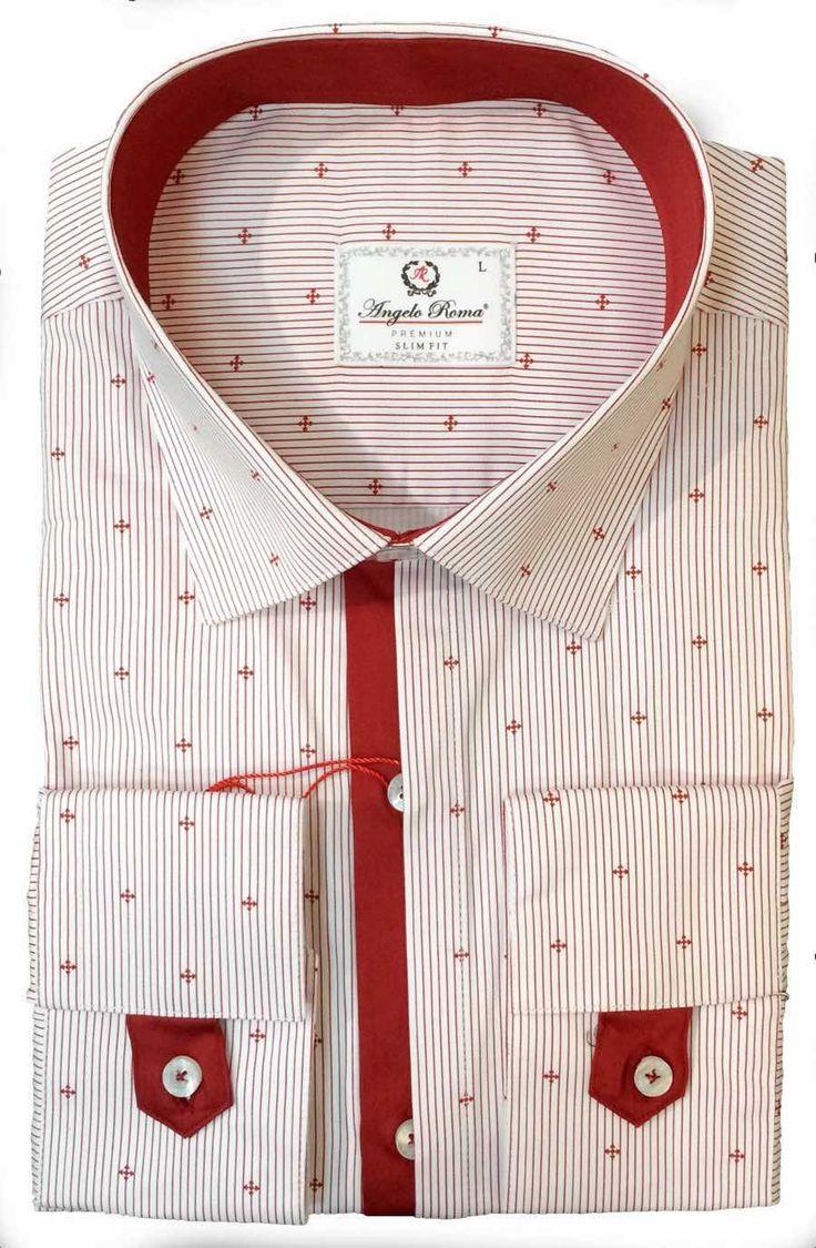 Рубашка в красную полоску (текстурная)