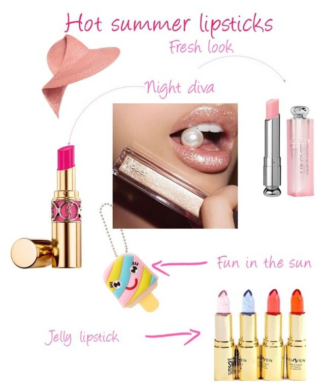 Hot summer lipstick by sarks on Polyvore featuring polyvore, beauty, Yves Saint Laurent, Eugenia Kim and summerlipstick