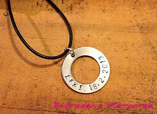 Personalised Handstamped SS Family Circle washer pendant keyring - any name mothers day gift, love, heart, Jewellery, keyring, valentines via Etsy