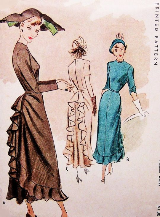 FLIRTY 40s Cocktail Evening Party Dress Pattern McCALL 7604 Flattering Unique Style Ruffled Back Peplum Bust 38 Vintage Sewing Pattern