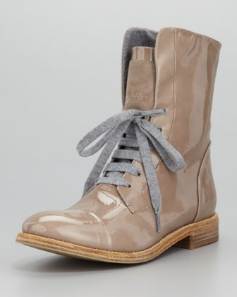 Brunello Cucinelli - Patent Lace-Up Work Boot, Mushroom