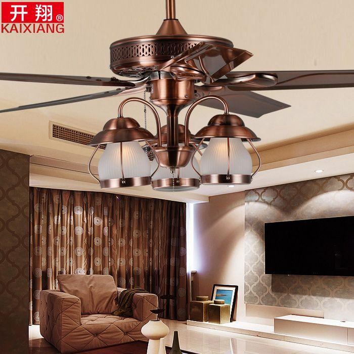Открытая столовая потолочный вентилятор свет Сян Американский спальня исследование лампа люстра потолочный вентилятор свет вентилятор утюг ретро немой