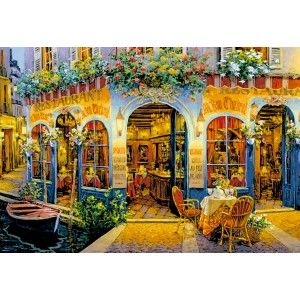 Artist: Viktor Shvaiko Aglow with the soft colors of blooming flowers from windowboxes overhead and the warm light of mounted lamps, this quaint and quiet cafe hints of elegant drinks and steady conversation. Educa puzzles are known around the world for their quality standards, using green & blue boards which create exact piece fits and greatly reduces puzzle dust. As well, every Educa puzzle between 500 and 2000 pieces includes puzzle glue for preserving your success, and a Puzzle Piece…