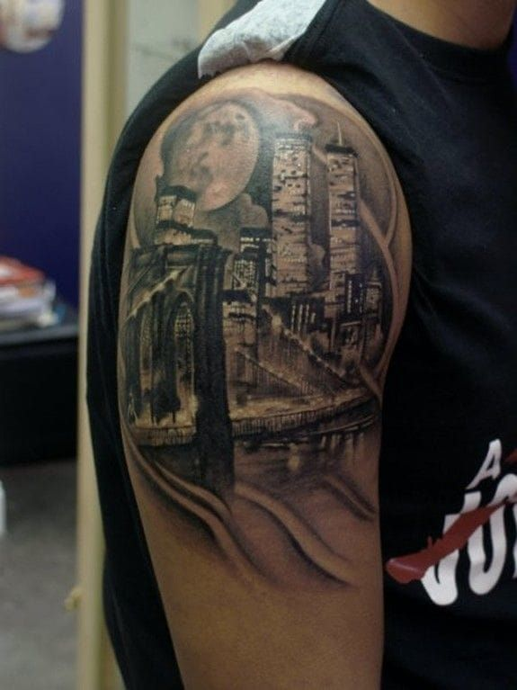 Brooklyn bridge and ny skyline with the twin towers at for Las vegas skyline tattoo