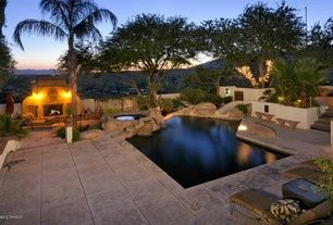 Southwestern Swimming Pool with Fence, exterior tile floors, outdoor pizza oven, Raised beds, Trellis
