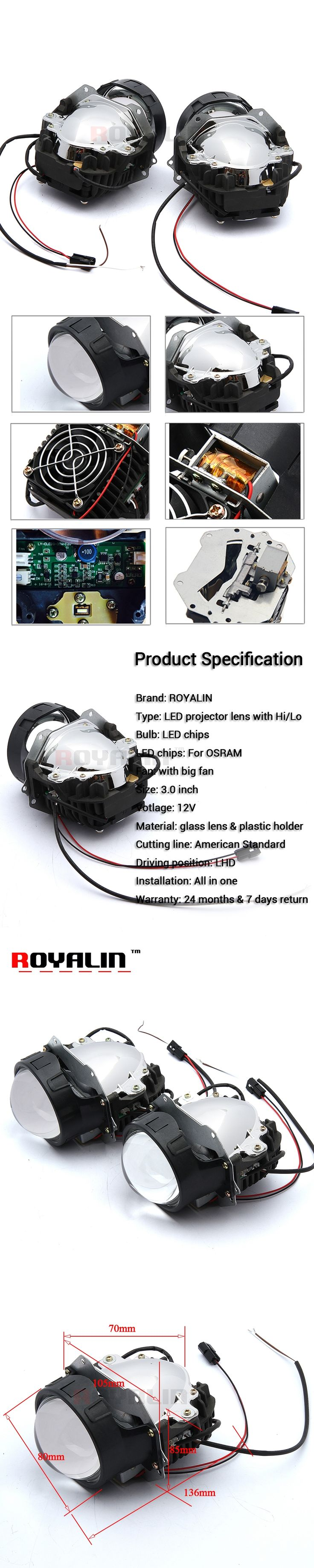 ROYALIN Car Styling Bi LED Projector Headlights Lens 3.0 inch LHD RHD High Beam Low Beam All In One for Most Auto Lamps Retrofit