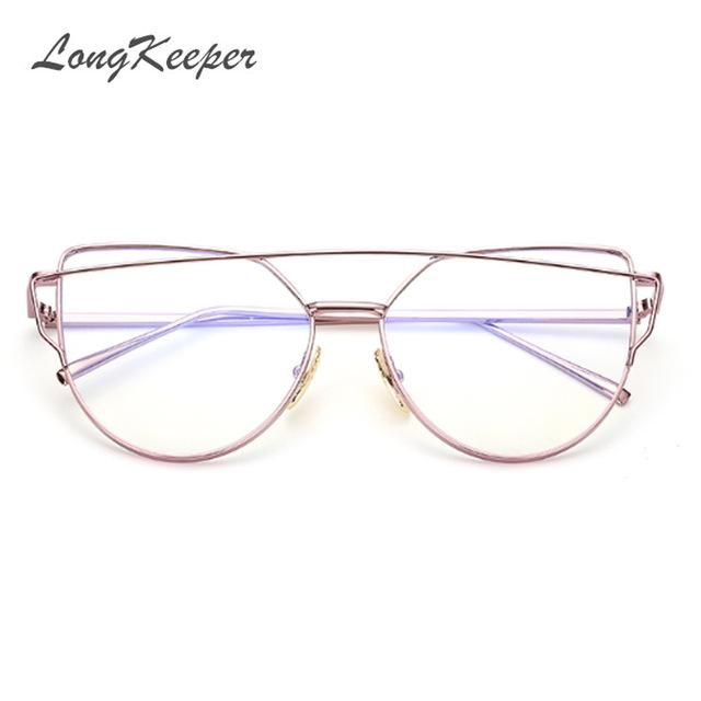 LongKeeper Fashion Clear Lens Cat Eye Glasses Frame Women Gold Eyewear Frame Men Eyeglasses Optical Frame Reading Glasses Female