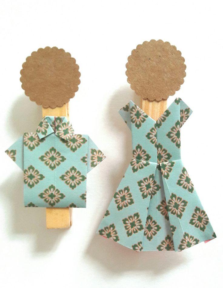 kit marque-places origami robes et chemises, tons vert menthe : Autres pièces pour créations par papiersetcartons