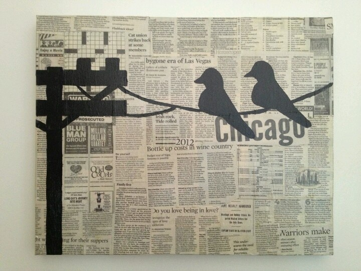 Newspaper Canvas Art With A Bird Silhouette Pinning Diy Canvas