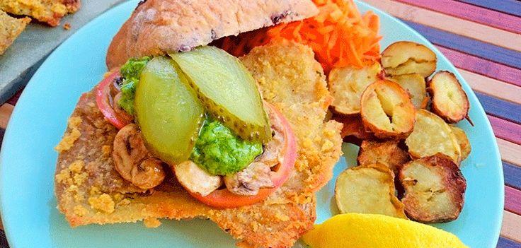 Hamburguesa vegana de escalope vienés | Hit Cooking