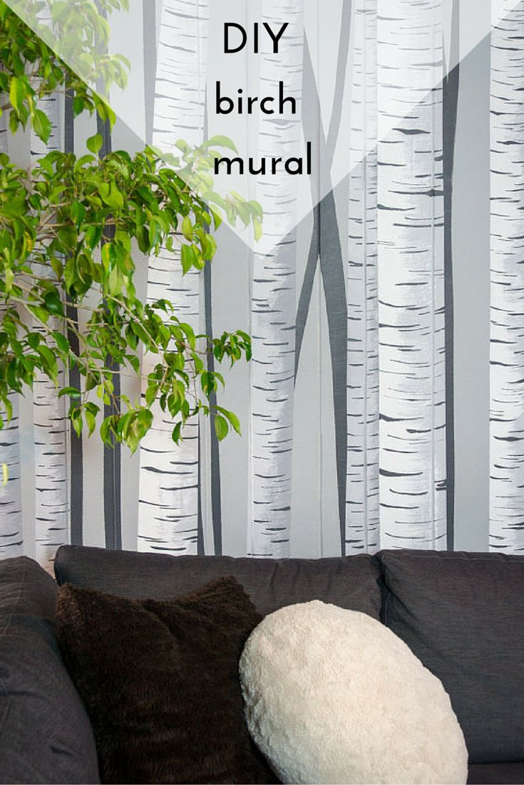 Make a birch forest mural for Birch tree forest wall mural