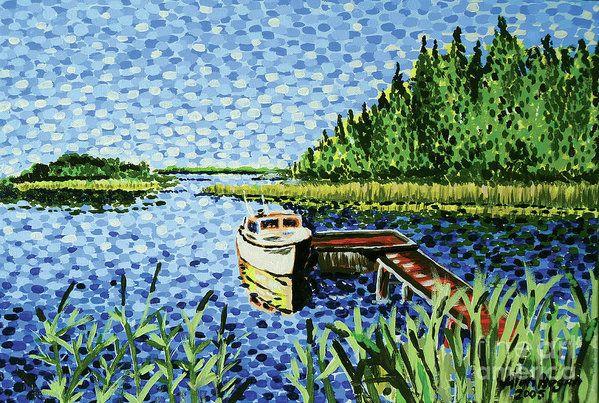 The Calypso' -print #fineartamerica #painting #coastal #boat #finland #handpainted #art #alanhogan #dots #landscape #bythesea #fishing #gallery