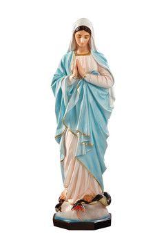 Madonna Miracolosa con mani giunte altezza cm. 135 in vetroresina dipinta con colori acrilici e finiture ad olio disponibile anche con occhi di vetro  http://www.ovunqueproteggimi.com/collezione-statue/madonne/miracolosa-mani-giunte/