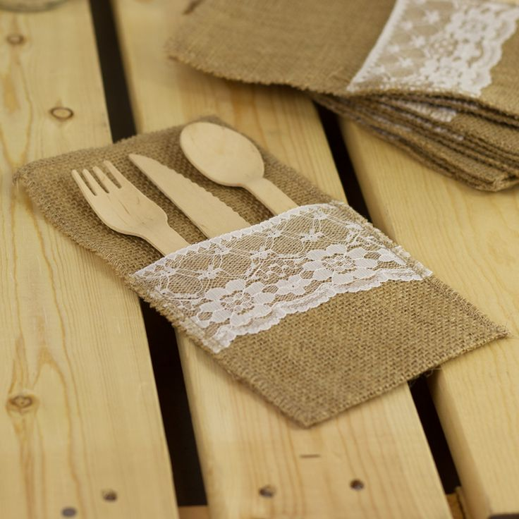 Burlap Cutlery Holder / Pouch from My Wedding Store