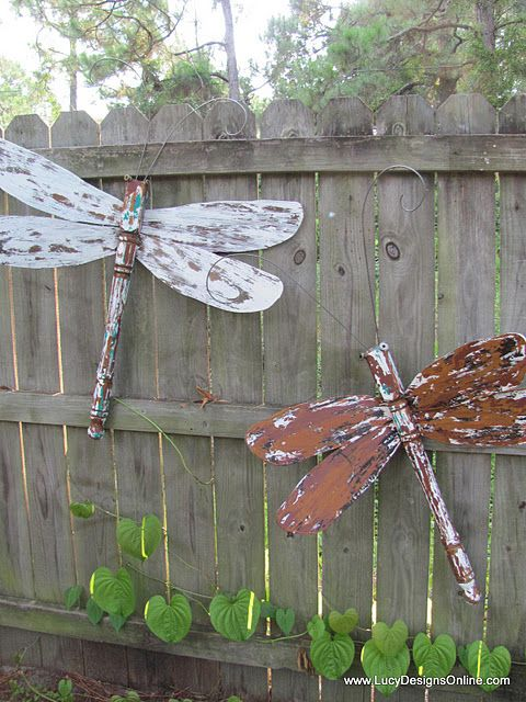 Dragonflies made from fan blades, table legs