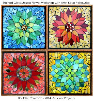 """Student Projects from a Kasia Mosaics """"Stained Glass Mosaic Flower Class"""" - Visit www.kasiamosaics.com for a list of All-Level Classes in Denver, Colorado, Online Class Kits, Project Kits/Templates and Kasia's Original Art."""