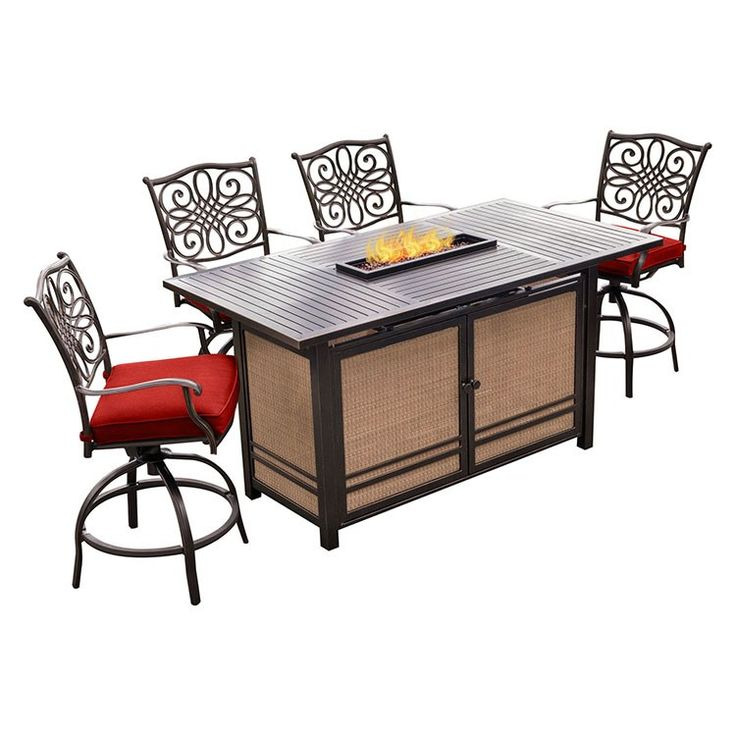 Hanover Monaco 7 Piece Aluminum Outdoor High Dining Set With