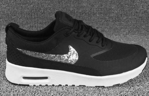 Nike Air Max Thea Mens Womens Black White Glitter Black Friday Shoes fb7348e8d3