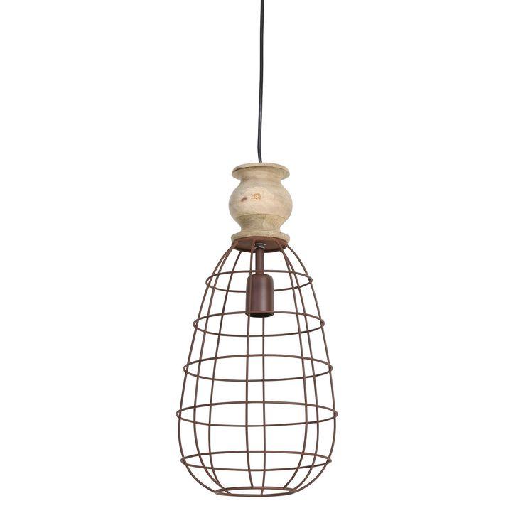 Subtiel in haar charme, en zeker een musthave! Deze gave draadjes lamp Bakala roest bestaat uit een matalen frame en de bovenkant is van hout. Het design van de roestkleurige hanglamp is simpel, maar erg stijlvol. Door de draadstructuur oogt de lamp stoer. De hanglamp is perfect te combineren. Hanglamp Bakala komt van het merk Light & Living.