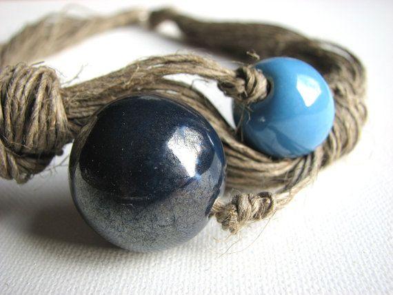 Ceramica blu - collana di lino