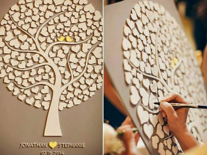 """Guest book"" tree a excellent creative  guest book idea https://www.facebook.com/heartwoodcnccreations/info?tab=page_info"