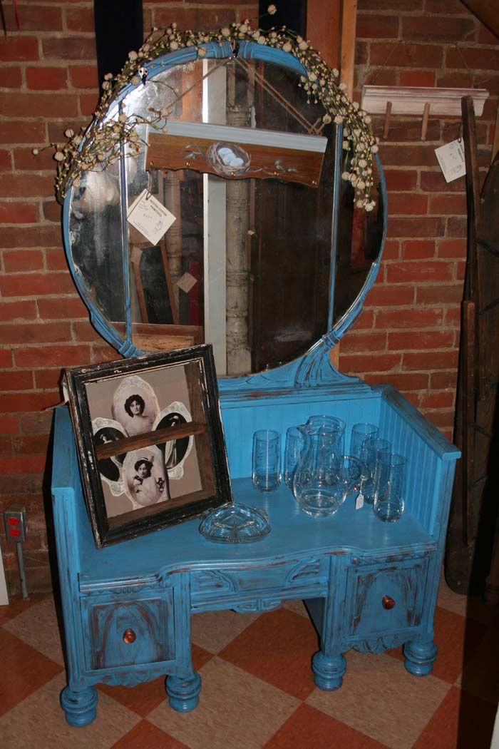 SOLD Bench and mirror made from Art Deco vanity Wonderful storage seating and coat rack for