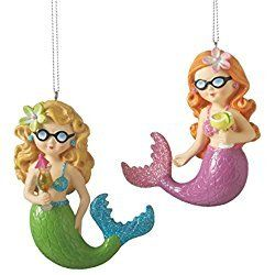 Playful Mermaids with Cocktails Ornaments Set of 2